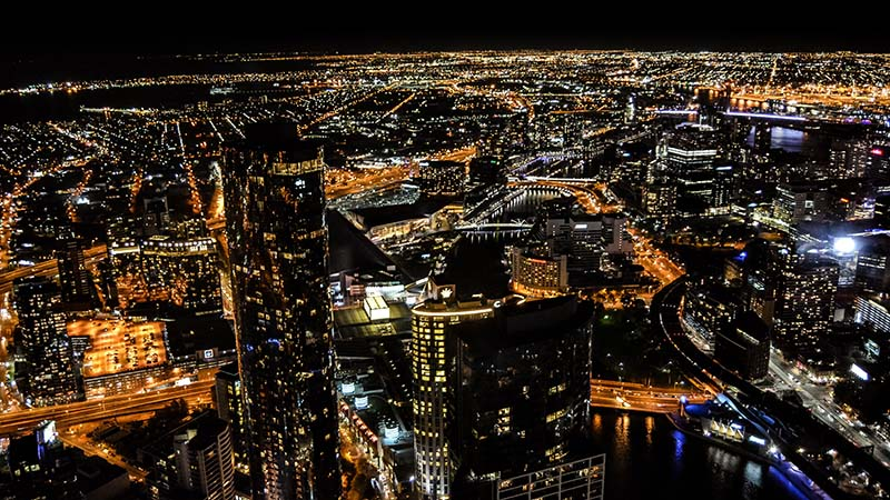 Melbourne City at Night from Eureka Tower by Graham Holtshausen