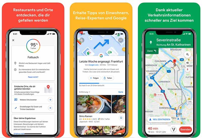 Wenn Du schneller von A nach B fahren oder schöne Orte in Ihrer Umgebung entdecken möchtest, verwenden Sie Google Maps.
