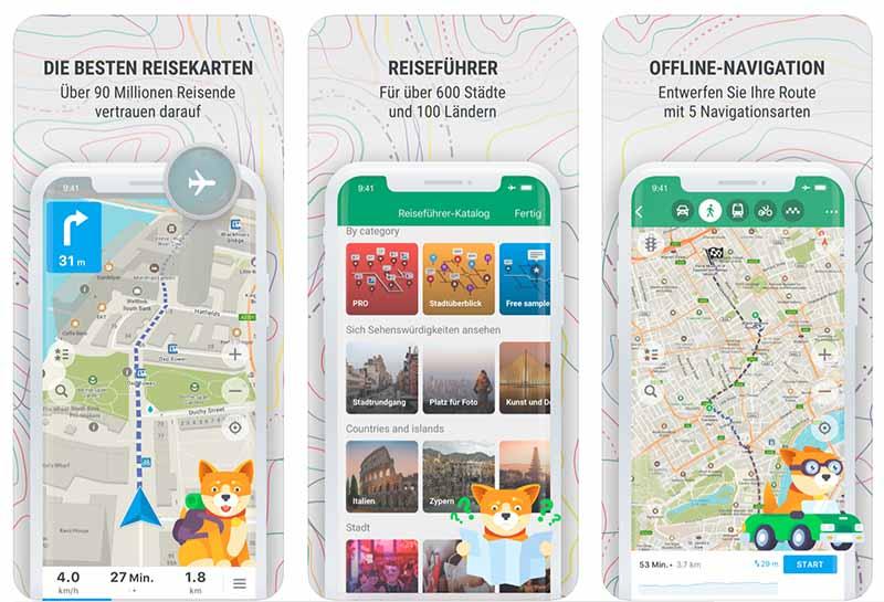 Kostenlose Karten, praktische Offline Navigation und Reiseführer gibt es bei Maps.me