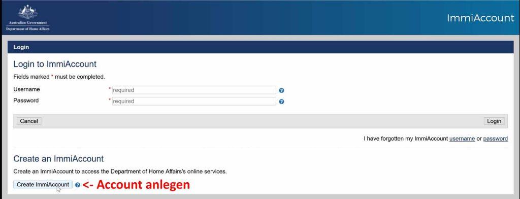 ImmiAccount erstellen auf der Homeaffairs Webseite