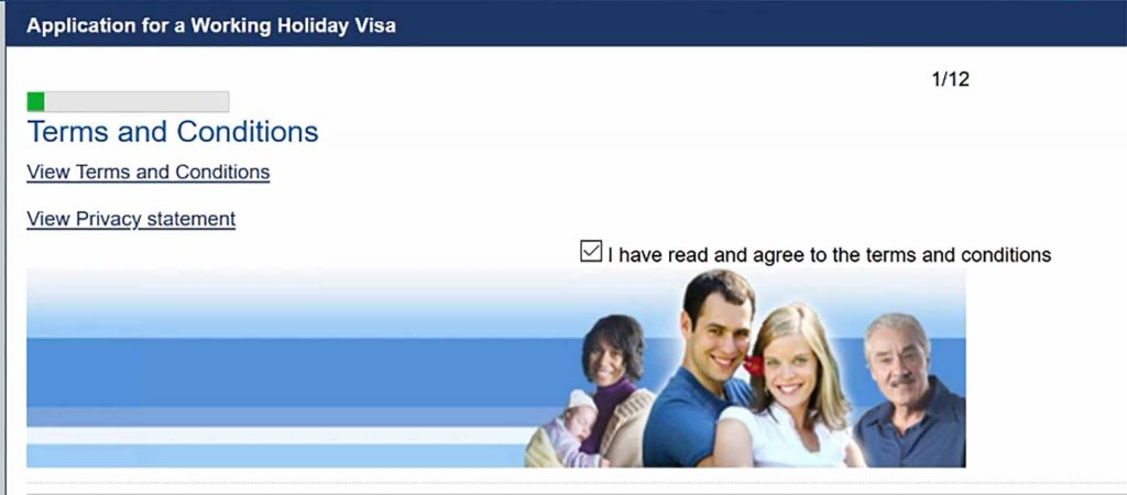 Agree to the terms and conditions for your working holiday australia visa