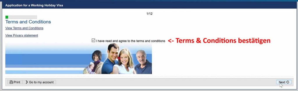 Terms & Conditions des Working Holiday Visa akzeptieren