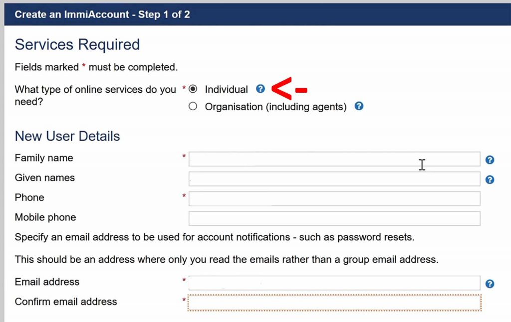 Create your ImmiAccount as an individual