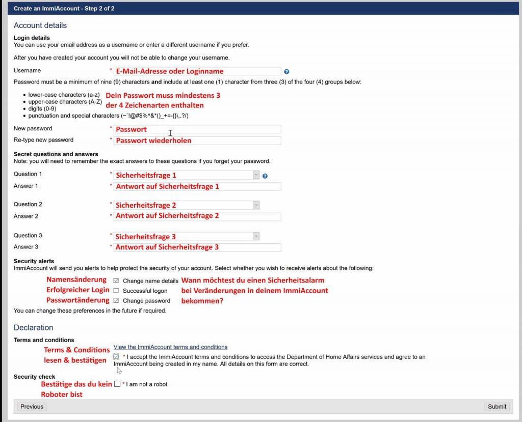 Sicherheitsfragen und Passwort für den ImmiAccount vergeben