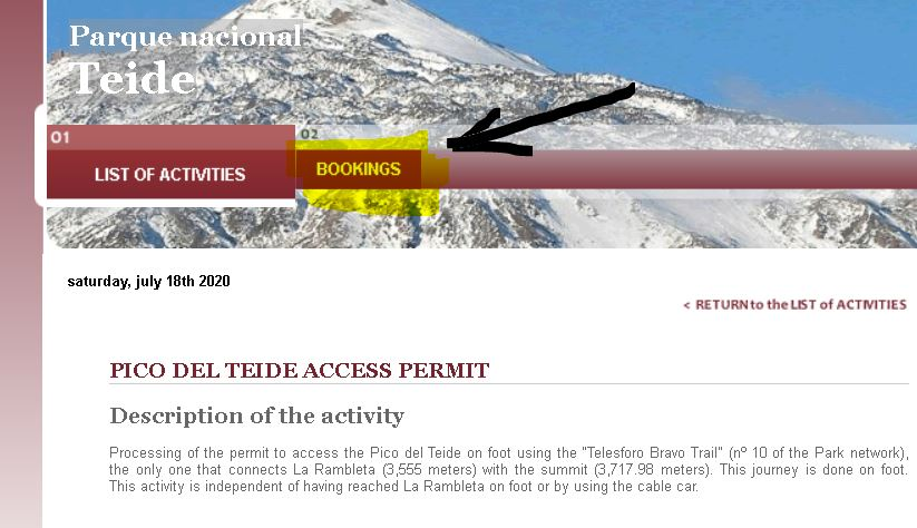 Apply for Teide Access Permit - Bookings