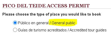 Apply for Teide Access Permit - General Public