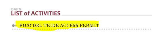 Apply for Teide Access Permit - List of Activities
