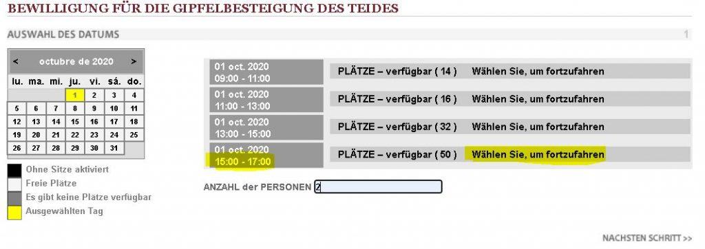 Bewilligung fuer gipfelbesteigung des mount teide - Auswahl Datum