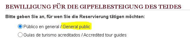 Bewilligung fuer gipfelbesteigung des mount teide - General Public