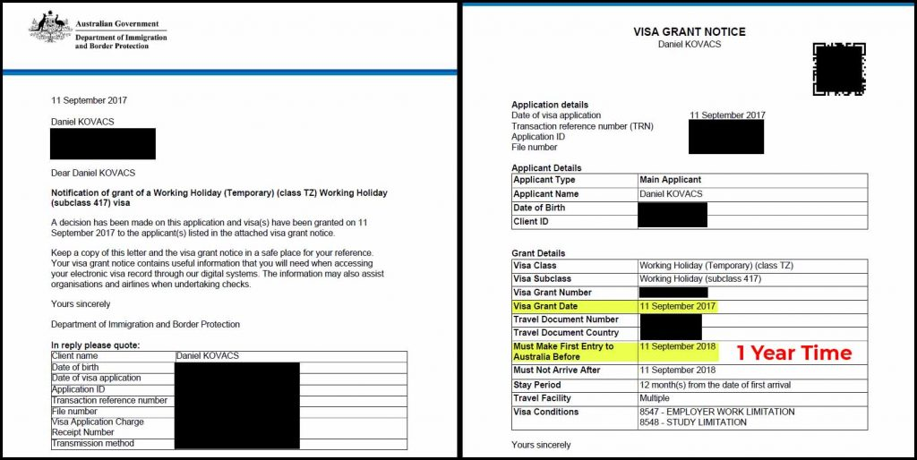 Working Holiday Visa Australia Grant Notification