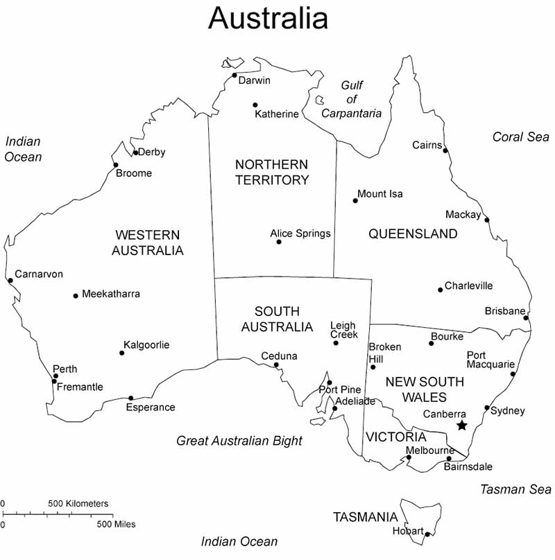 A map with all interstate borders of Australia