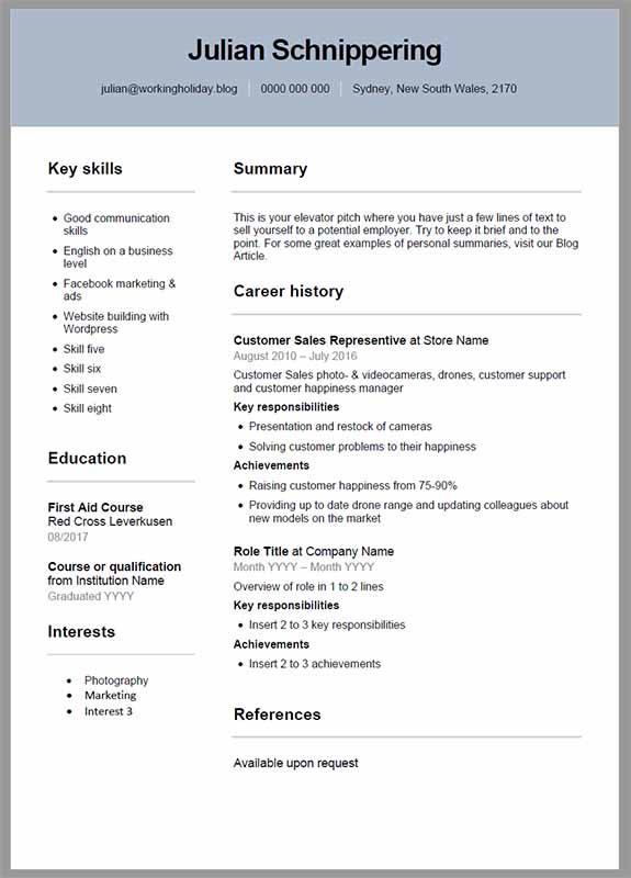 Resume Template Australia Julian